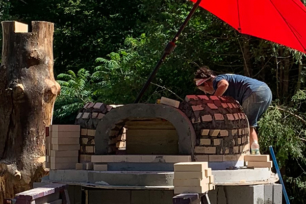 Great Vermont Bread Festival oven being built