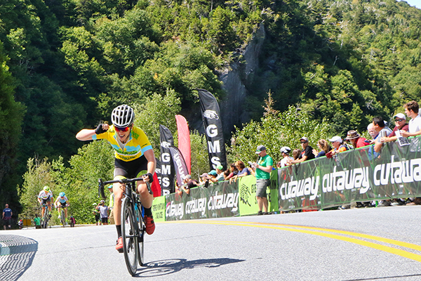 Photo: Gary Kessler. Pro racer Emma Langley  powers up the last section of App Gap to win the Stage 3 women's portion of the Green Mountain Stage Race.