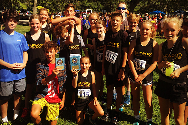 The Harwood MS cross-country team girls placed second with the boys' team taking third at the Burlington Invitational