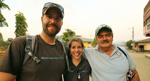 Jen, Steve and a Florida Rotary member after installing filters in Trojes, Honduras.