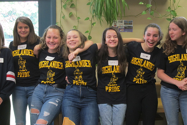 Photo courtesy of Jacki MdCarty. HUMS Spelling Team- 2019 HUUSD Champions: L-R:  Poppy Woods, Anabelle Reisner, Solveig George, Kerna Bond-Bardes, Julia Cox and Francesca Galati.