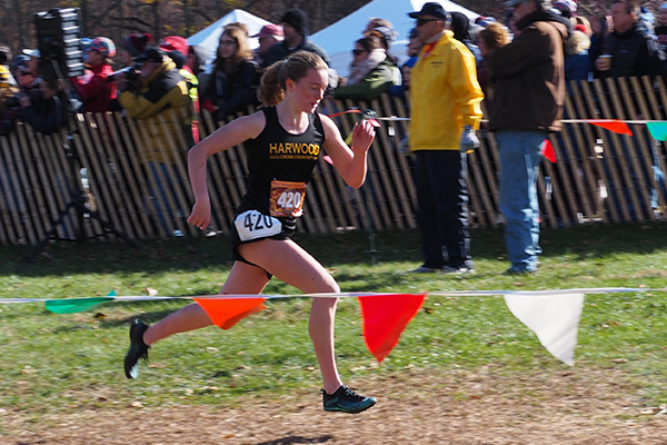 Photo: Ann Zetterstrom. Ava Thurston finishing fifth at the New England XC Championships.