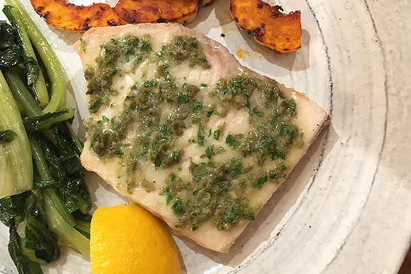 Swordfish with capers, parsley and anchovies