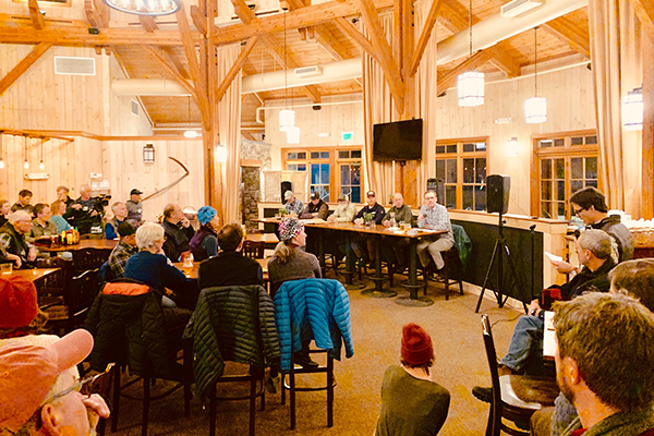 Photo: Hadley Laskowski. A large crowd turned out for the Earn-Your-Turns Roundtable held at Rumble's Bistro and Bar on December 5