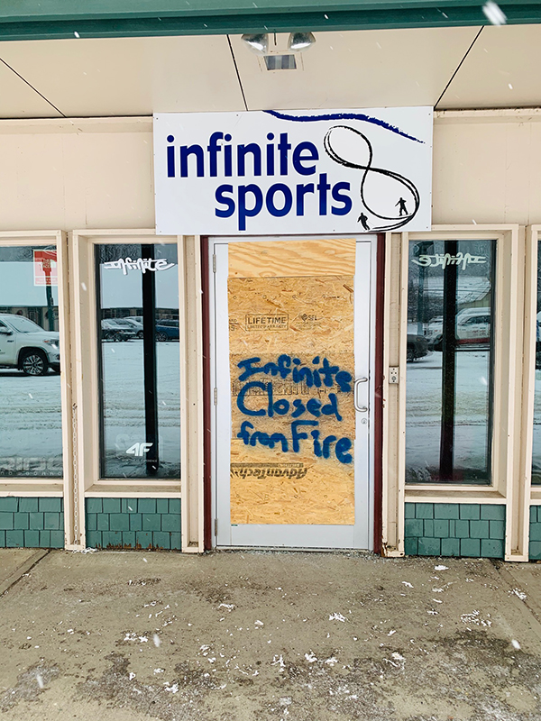 Infinite Sports closed due to fire