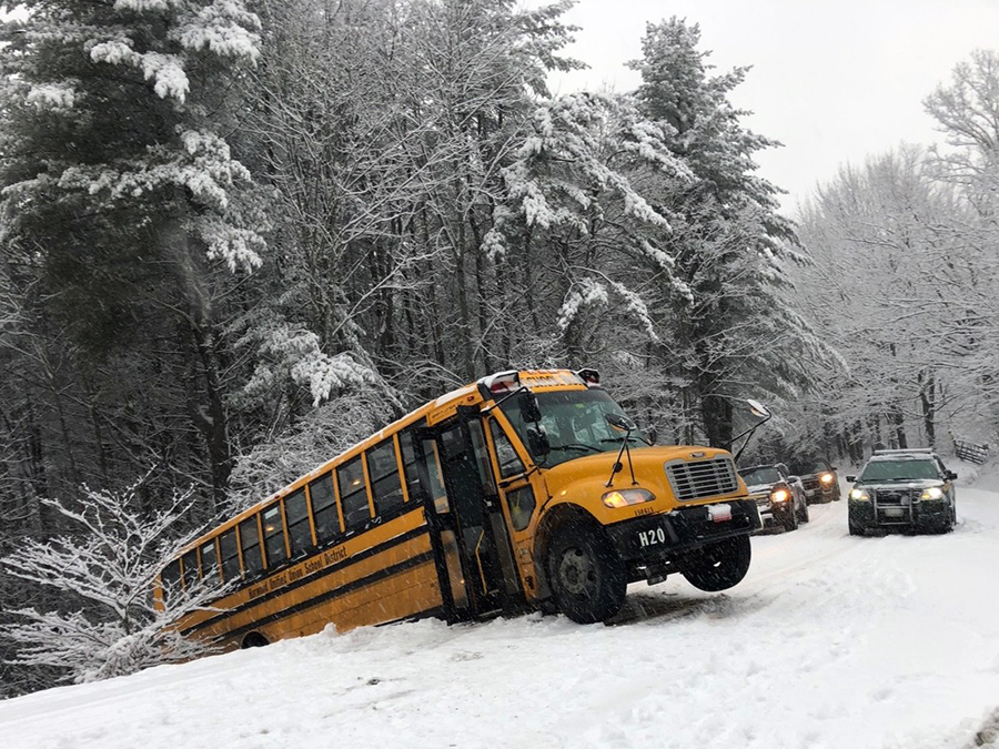 School bus accident on Moretown Common Rd. Photo: Laura Schaller
