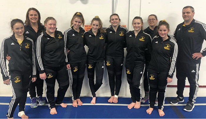 Harwood girls' gymnastics team.