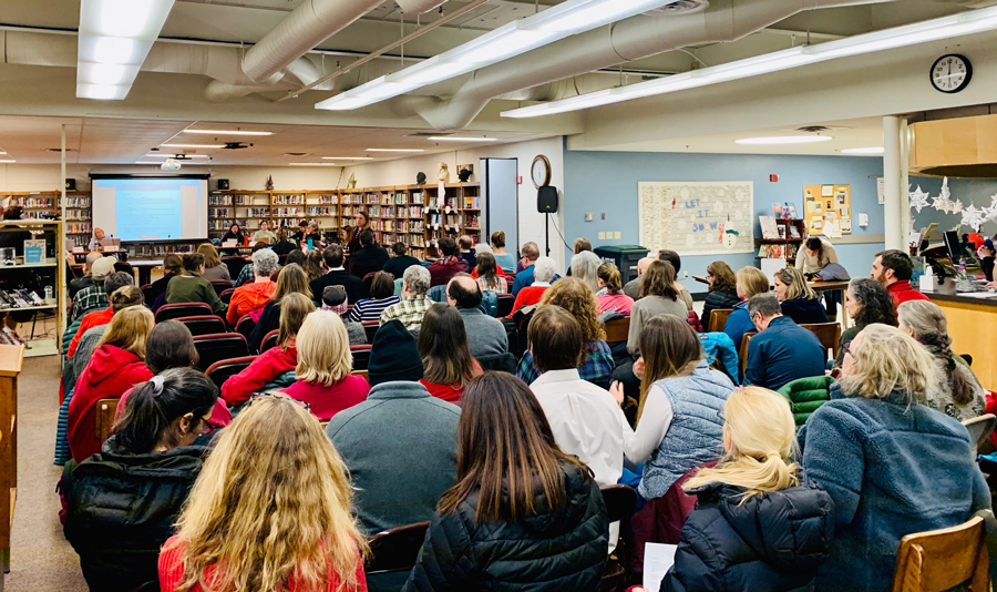 Attendance was high at the January 22 HUUSD board meeting. The public wanted to have input on potential school closures. Photo: Hadley Laskowski