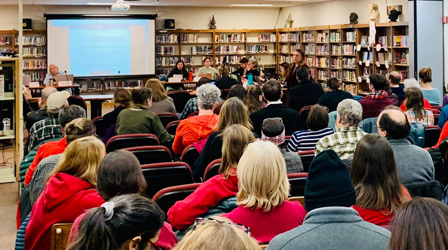 A large crowd came out for the HUUSD Board meeting of January 22, 2020. Photo: Hadley Laskowski
