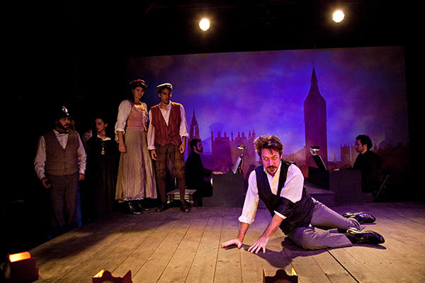 "James Sasser in the 2015 Skinner Barn production of ""The Mystery of Edwin Drood."""