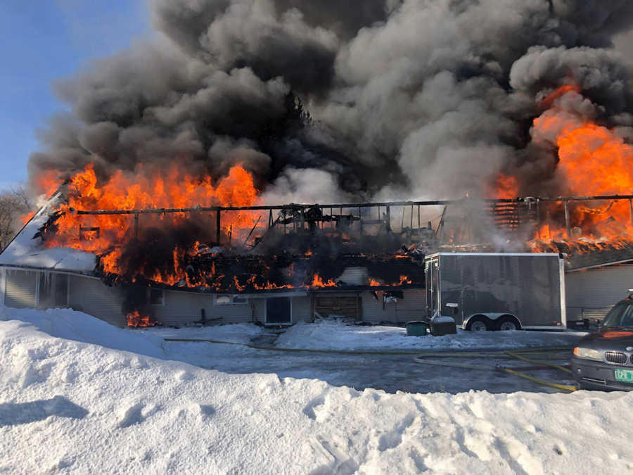 Wintersteiger in Waitsfield burned down Saturday, February 15. Photo courtesy Wintersteiger