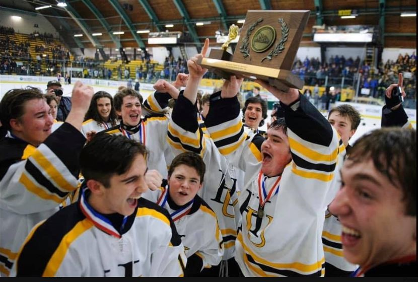 Harwood boys hockey celebrating their Vermont D2 Championship victory Wednesday, March 11. Photo: Brian Jenkins