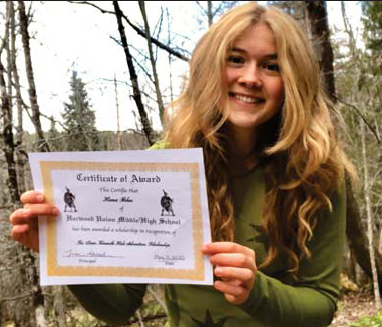 The Liam Kenneth Hale Adventure Scholarship was awarded to Hana Behn