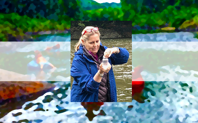 Ruth Lacey collects a sample of water from the Mad River. Photo: Suze Edwards