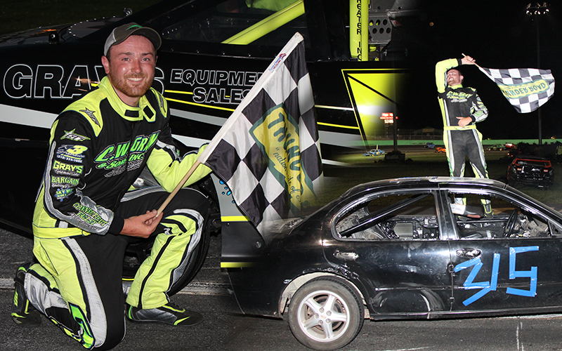 East Thetford, VT's Brandon Gray celebrates his victory in the 36th annual Bolduc Metal Recycling Enduro 200 on Sunday, August 23. Gray also triumphed in the 50-lap Allen Lumber Street Stock Special after taking the lead for good in the final corner. Photo: Alan Ward.