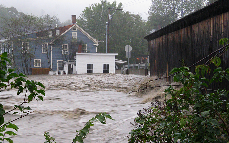 Flooding on the Mad River in Waitsfield, VT at the historic covered bridge. Photo: Jeff Knight