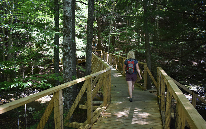 Mad River Path Board Member Dori Ross walking across the bridge next to the McCollough Barn into the Chase Brook Town Forest.