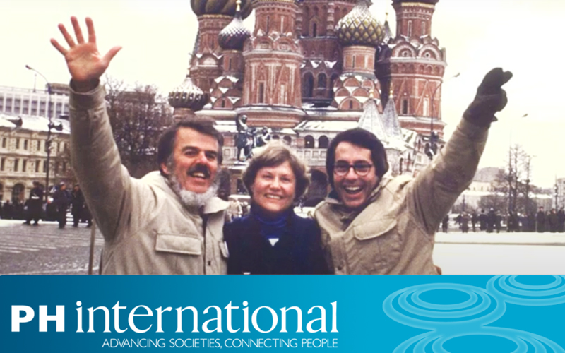 Charlie Hosford, Cathy Cadwell, and David Kelly in Russia as part of Project Harmony.