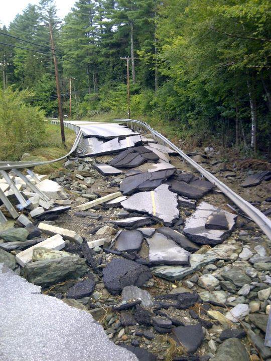 Damage to Route 100 in Moretown from Tropical Storm Irene