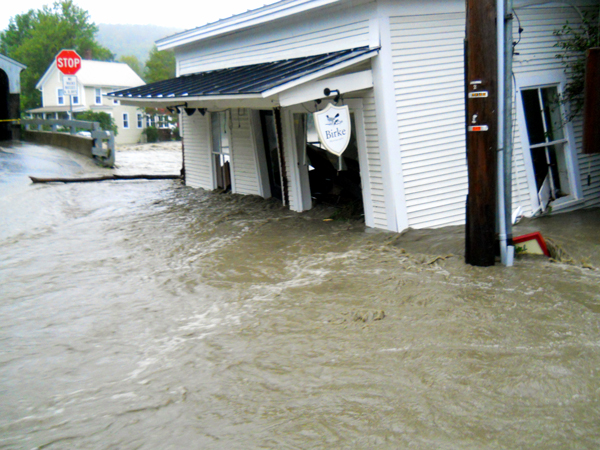 Flooding on Bridge Street Waitsfield during Tropical Storm Irene