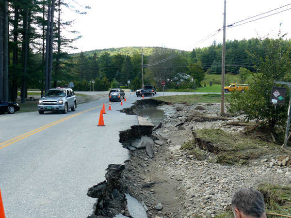 Damage to Tremblay Road from Tropical Storm Irene