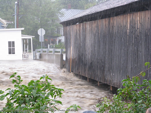 Flooding from Tropical Storm Irene at the Waitsfield Covered Bridge