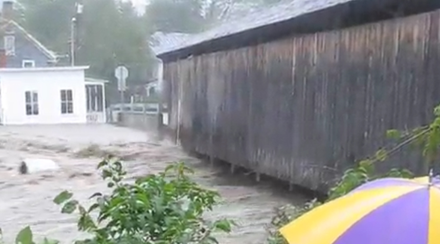 Waitsfield Covered Bridge Flooding T.S. Irene